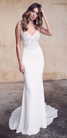 Bridal Gown by Anna Campbell Bridal … Bridal Gown by Anna Campbell Bridal Simple wedding dress with lace and Krepprock Fitted wedding dress with V-neck dress The post Bridal Gown by Anna Campbell Bridal … … appeared first on Garden ideas - Wedding Gown Lace Top Wedding Gowns, Fitted Wedding Gown, Crepe Wedding Dress, Simple Wedding Gowns, Wedding Bridesmaid Dresses, Best Wedding Dresses, Designer Wedding Dresses, Bridal Dresses, Trendy Wedding