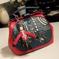 Hollow Out Designer Leather Women Handbag Small Cute Tote Bag Shoulder Bag Top Quality W2025