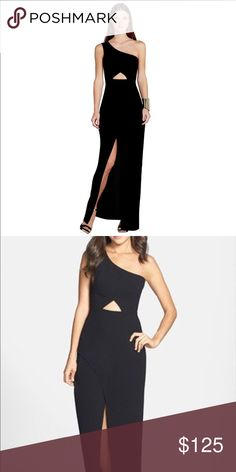 Long Black BCBG Cutout Dress Black with cutouts.  Worn once.  Great condition. Pic shown is not actual dress, but an advertisement of the dress. BCBG Dresses One Shoulder
