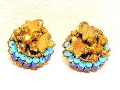 Miriam Haskell Citrine Crystal Turquoise Beads Earrings Filigree Cluster Leaf #MiriamHaskell #Cluster