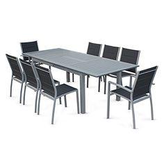 salon de jardin aluminium gris et composite bois 1 table extensible 180 280cm assises maelig 10 fauteuils jardin balcon terrasse pinterest - Salon De Jardin Composite