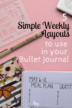Bullet Journals are a great planning tool, and you can set up a full weekly layout in 15 minutes or less with these 5 simple spreads! Discover my favorite minimalist layouts that I use to stay productive all week long while managing my schedule!   #bulletjournal #bujo #bulletjournallayout #bujolayout #minimalistlayout #simplelayout #bulletjournalspread #bujospread #planning #productivity
