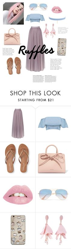 """Untitled #29"" by faye-knight ❤ liked on Polyvore featuring Needle & Thread, Aéropostale, Mansur Gavriel, Ray-Ban, Oscar de la Renta, Jules Smith and Anja"