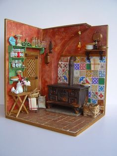 "Hand-made miniature Scene 1:12 scale ""And old kitchen"""