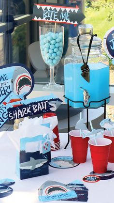 Shark Week Party Ideas Shark Zone Decorations And Shark Party Toddler Birthday Cakes, 2nd Birthday Party Themes, 5th Birthday, Birthday Ideas, Shark Party Decorations, Shark Party Supplies, Water Party, Shark Week, Party Ideas