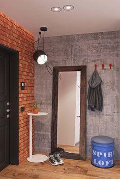 No closet, o tonel pode ganhar um assento almofadado e se tornar banco Loft Interior Design, Loft Design, Brick Wall Decor, Home Structure, Sims House Design, Loft Interiors, Beauty Room, Apartment Design, House Styles