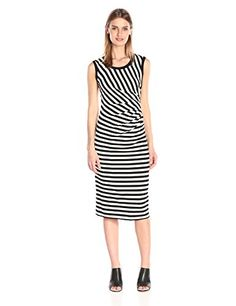 Nicole Miller Women's Stretch Heavy Stripe Bias Pleated Dress, Black/White, Large- #fashion #Apparel find more at lowpricebooks.co - #fashion