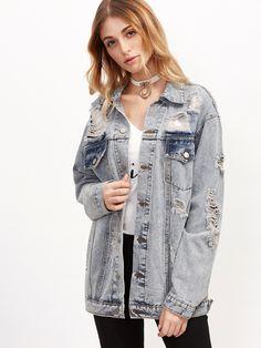 Shop Grey Ripped Button Up Boyfriend Denim Jacket online. SheIn offers Grey Ripped Button Up Boyfriend Denim Jacket & more to fit your fashionable needs.