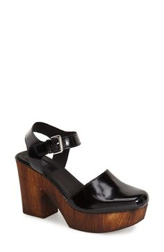 Topshop 'Smile' Wooden Platform Leather Sandal (Women) available at #Nordstrom
