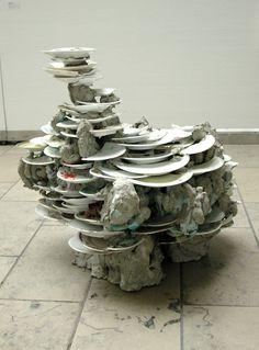 Angelika Arendt - Teller, 2004 Fliesenkleber, Teller