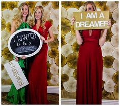 What a great back drop for a photo booth! They covered the wall w/gold tinsel paper then added the different size/color fans.