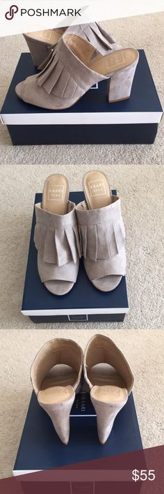 """NWT Kaari Blue light grey ava shoes NWT stylish and comfortable to wear, open toe with sued and pleat feel, 3.8"""" Heels  This is size 9M wide fit Comes with the box Kaari Blue Shoes Wedges"""