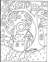 Rug Hooking Paper Pattern Quaint Town Folk Art Modern Primitive Unique Karla GNice pattern for a quilled scene. Quaint Town by Karla GerardYou are dealing with Karla Gerard, Maine Folk Art/Abstract Artist, Originator/Creator of concentric circles/flo Folk Embroidery, Paper Embroidery, Embroidery Ideas, Penny Rugs, Colouring Pages, Coloring Books, Motifs D'appliques, Bordado Popular, Karla Gerard