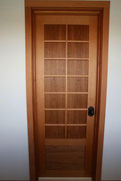 Shoji screen inspired, this interior office door replaces paper screen windows with contrasting cherry wood. Doors, Custom Interior Doors, Diy Renovation, Timber Frame, Wood Doors Interior, Home Decor, Doors Interior, Office Interiors, Interior Decorating