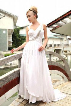 653c09c2a8bb Gorgeous White V-Neck Sweep Chiffon Satin Womens Evening Dre.