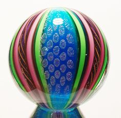 """EDDIE SEESE ART GLASS 2-5/16"""" TURQUOISE DICHROIC IMPERIAL DRAGON MARBLE #EddieSeese #Contemporary"""