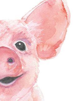 Original Watercolor Painting  Watercolor Pig  Baby Animal