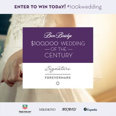 Enter the Ben Bridge $100,000 Wedding of the Century today for your chance to win a dream wedding, Caribbean honeymoon, jewelry, cash and more!  http://apps.facebook.com/weddingofthecentury/contests/330642