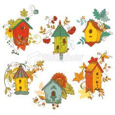 Decorative Autumn branches with Birdhouses Ilustracja wektorowe grafika royalty-free
