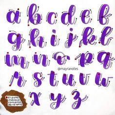 Bullet Journal Lettering Ideas, Bullet Journal Banner, Bullet Journal Writing, Bullet Journal Notes, Bullet Journal School, Bullet Journal Ideas Pages, Journal Fonts, Handwriting Alphabet, Hand Lettering Alphabet