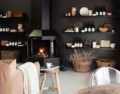 Spotted on Elle Decoration SA: the recently opened Kitchen at Weylandts. Located on the top floor of the Durbanville branch of Weylandts, a well-known furn Dark Grey Walls, Black Walls, Beautiful Interior Design, Beautiful Interiors, Black Interiors, Fresco, Home Living Room, Living Spaces, Weylandts