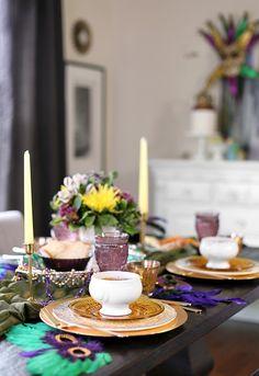 Mardi Gras Dinner Party Menu -- recipes, decor and table setting ideas - from RecipeGirl.com