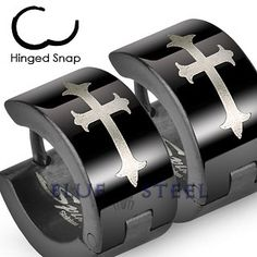 PIN IT TO WIN IT! Cry of the Cross: These specially designed earrings are not made for the weak! Stainless steel black hinged wide hoop earrings with Gothic medieval crosses. These earrings symbolize strength and power and add to your complete goth look.  $19.99  www.buybluesteel.com