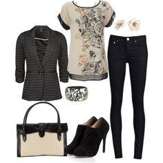 """Dress in Comfort with Black & Cream"" by heather-rolin on Polyvore"