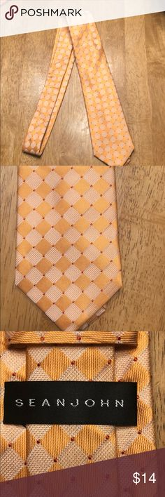 b0e55cdf99e1 Sean John Silk Men s Tie Light Orange Print 100% Silk NWOT Sean John  Accessories Ties