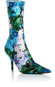 Balenciaga Knife Tech-Jersey Ankle Boots - 8.5