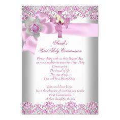 Small Size - First Holy Communion 1st Cross Girls White Pink Lace Rose Communions & Confirmations First Holy Communion 1st Cross Girls White Pink 3 Custom Invitation by Zizzago Browse more First holy communion 1st girls Invitations First Holy Communion 1st Cross Girls White Favor by Zizzago Browse more Cross Candy Tins First Holy Communion 1st Cross Girls White Pink by Zizzago Design your own car stickers at zazzle.com. First Holy Communion 1st Cross Girls White Pink by Zizzago Browse other…