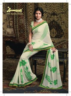 This White & green color Georgette saree gives simple & sober look