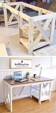 Farmhouse X Desk woodworking plans for the home office #desk #office #DIYHomeDecorChambre #DIY #FarmhouseStyle #woodworkingprojects