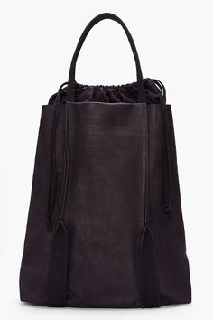 SILENT BY DAMIR DOMA //  BLACK LEATHER BAGRUS TOTE