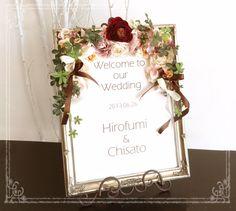 アンティークカラーのウェルカムボード Welcome Boards, Welcome To Our Wedding, Space Wedding, Place Cards, Place Card Holders, Google, Welcome Back Boards