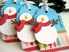Let It Snow SNOWMAN Tags by StephanieMatsunaka on Etsy, $4.50