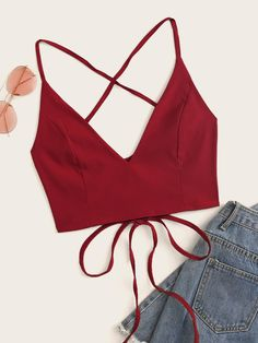 To find out about the Solid Lace Up Back Cami Top at SHEIN, part of our latest Tank Tops & Camis ready to shop online today! Girls Fashion Clothes, Fashion Outfits, Clothes For Women, Womens Fashion, Fashion Styles, Fashion Scarves, Cute Crop Tops, Cami Tops, Women's Tops