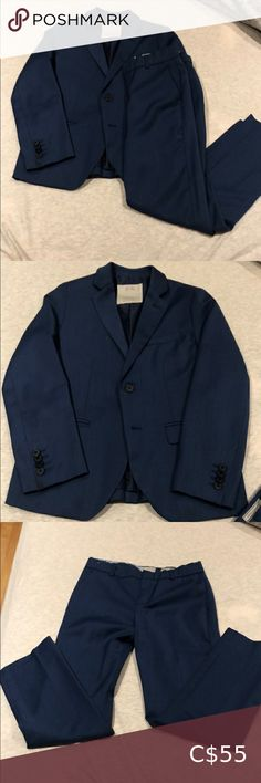 Zara - boys suit Zara - tailored boys suit. (Jacket and pants) Extra fine wool. Excellent condition. Beautiful blue tone Zara Matching Sets Boys Navy Suit, Boys Suits, Zara Kids Shoes, Melissa Jelly Shoes, Zara Hats, Kids Overalls, Zara Outfit, Baby Boy Shirts, Fleece Sweater