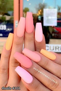 23 nail designs and ideas for coffin acrylic nails + # coffin .- 23 nail designs and ideas for coffin acrylic nails + # coffin # for # … – # acrylic nails - Matte Pink Nails, Peach Nails, Coffin Nails Matte, Best Acrylic Nails, Coffin Acrylics, Coffen Nails, Dark Nails, Peach Colored Nails, Nail Polishes