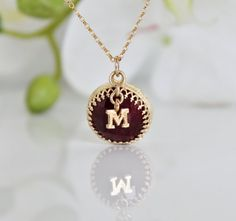 HALLOWEEN SALE  M letter necklacegold ruby by AnemoneJewelry, $59.00