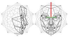 Vista frontal y derecha de una construcción virtual en 3D de la máscara de Phi
