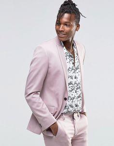 04fac4c2205b3 Image 1 of ASOS Super Skinny Suit Jacket in Dusty Pink Wedding Men