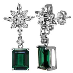 Sterling Silver Created Emerald and Created White Sapphire Dangle Earrings Amazon Curated Collection. $140.00. Made in China