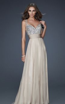 1e8723b07ba Vibrant Sleeveless Long Chiffon Gown with Beaded Bodice and Ruched Empire  Waist Cheap Evening Dresses