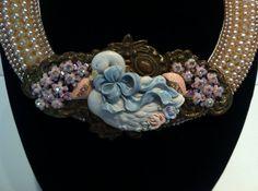 Vintage Escutcheon necklace adorned with vintage by N2Vintaj