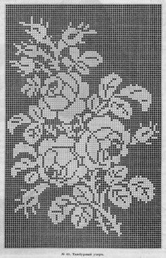 """ru / Photo # 11 - supplement to the """"Fashion Courier"""" - Crochet Curtains, Tapestry Crochet, Crochet Motif, Funny Cross Stitch Patterns, Cross Stitch Charts, Cross Stitch Designs, Cross Stitch Rose, Cross Stitch Flowers, Cross Stitch Patterns"""