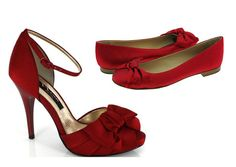 These will be the bridesmaids' shoes that perfectly match their gorgeous red dresses. One of my maids is unable to wear heels due to orthopedic issues, so I have included flats for her.