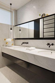 Gallery of Inspiration - Astra Walker carrara bathroom Black Bathroom Taps, Black White Bathrooms, Modern White Bathroom, Modern Bathroom Lighting, Modern Bathroom Design, Bathroom Styling, Bathroom Interior, Bathroom Designs, Bathroom Inspiration