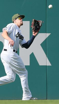 Cleveland Indians center fielder Bradley Zimmer shags downy the fly ball hit by the Oakland Athletics Jed Lowrie in the 4th inning at Progressive Field, Cleveland, Ohio, on May 29, 2017. (Chuck Crow/The Plain Dealer). Indians won 5-3