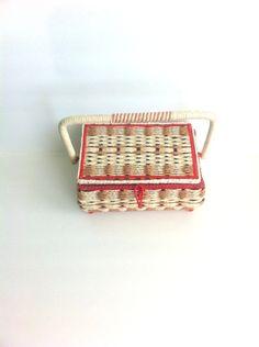 Woven Sewing Basket Vintage Made in Japan Red Beige Tan Black by Pesserae on Etsy